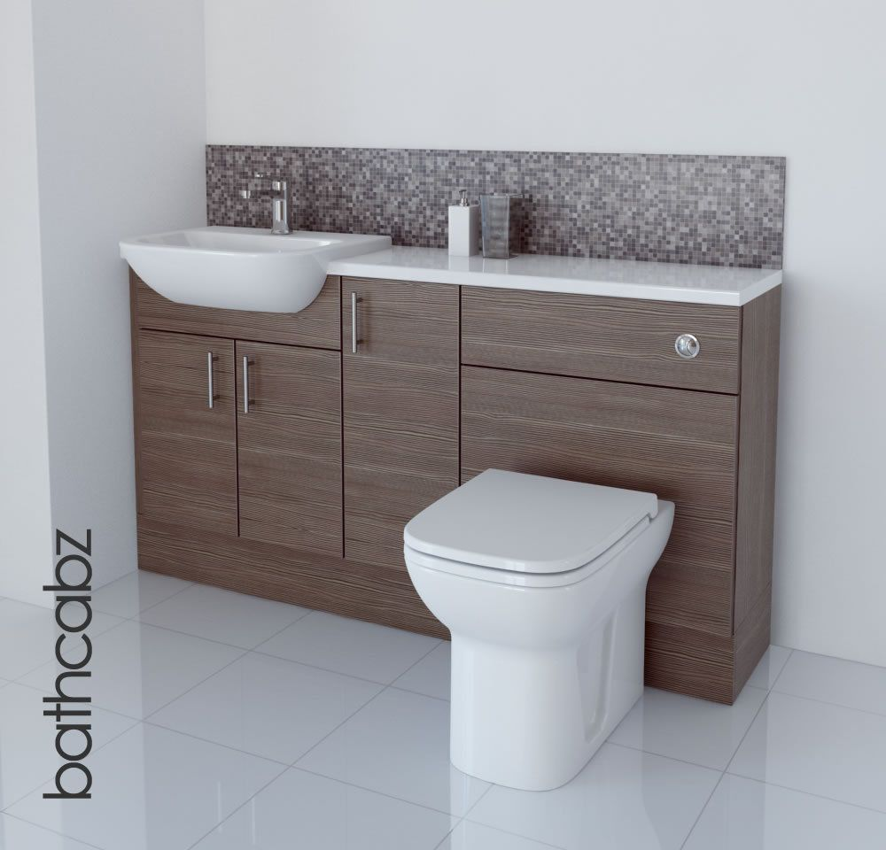 Superbe Grey Brown Bathroom Fitted Furniture 1500mm