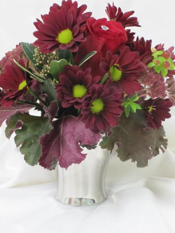 Burgundy & red in silver container