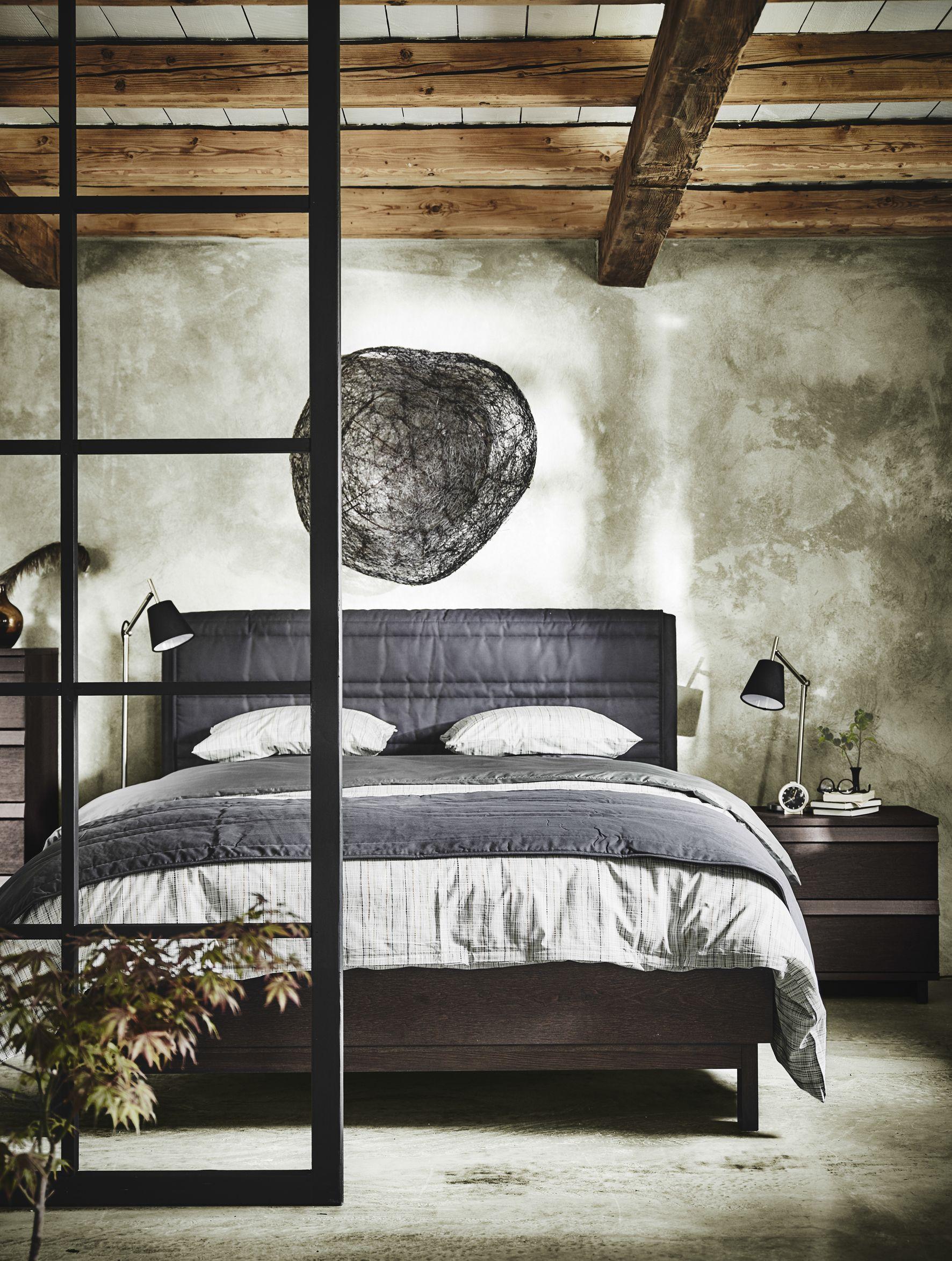 OPPLAND Cadre de lit, teinté brun plaqué frêne teinté brun frêne ...
