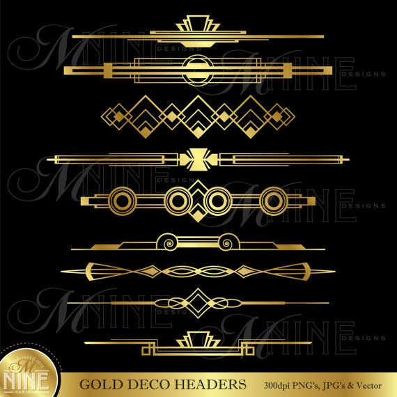 Gold deco headers clip art art deco clipart instant for Deco 5 elements