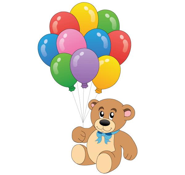 Cute Teddy Bear With Colorful Balloons Vector Art Plyushevyj Mishka Risunki Detskie Kartinki