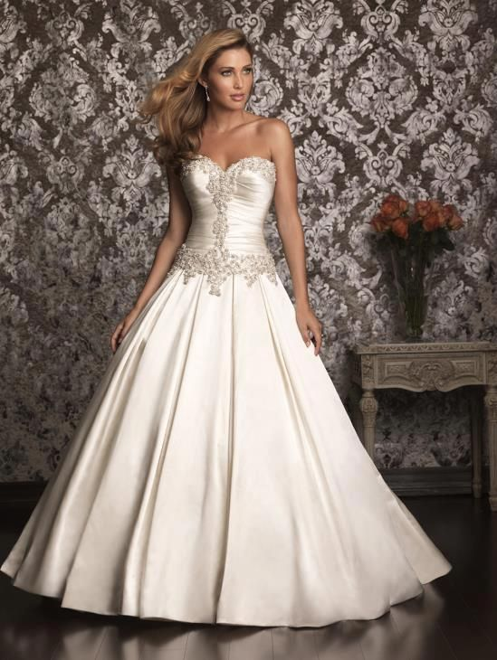 White and Gold Wedding. Sweetheart Corset Ballgown Dress. Allure ...