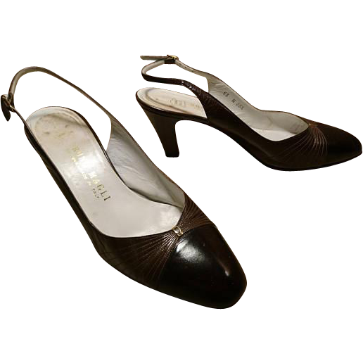 3f0a7822f8 Vintage 1960's Bruno Magli brown leather slingback heels, vintage Italian  leather shoes