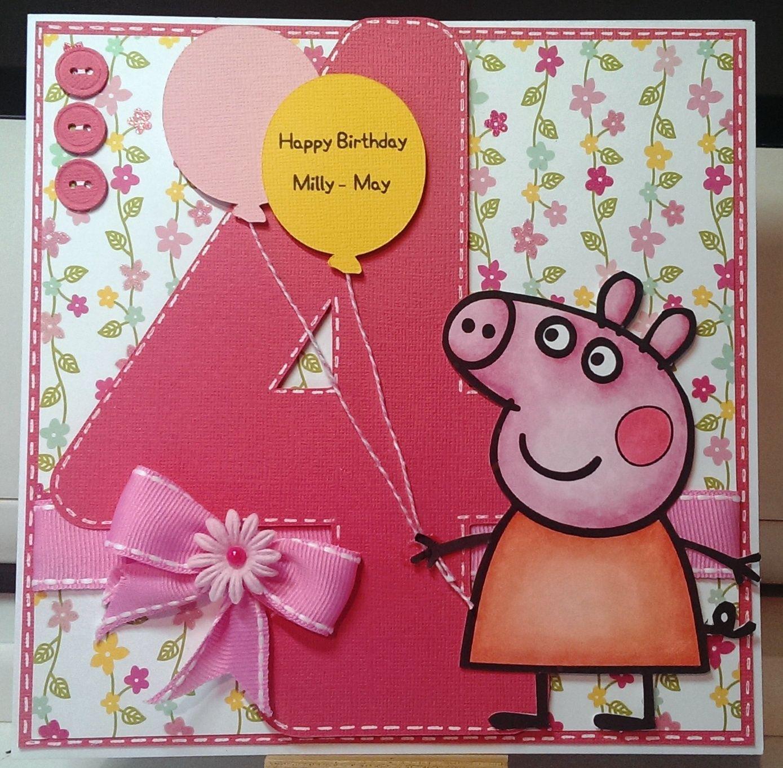Peppa Pig Card Kids Birthday Cards Handmade Birthday Cards Shaped Cards