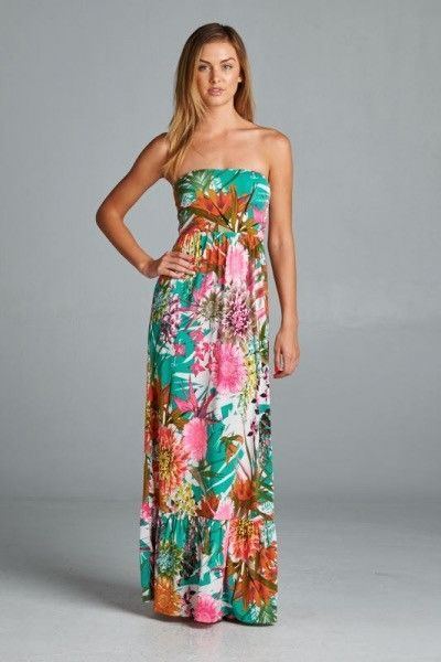 Summer Hawaiian Maxi Dress … | Pinteres…