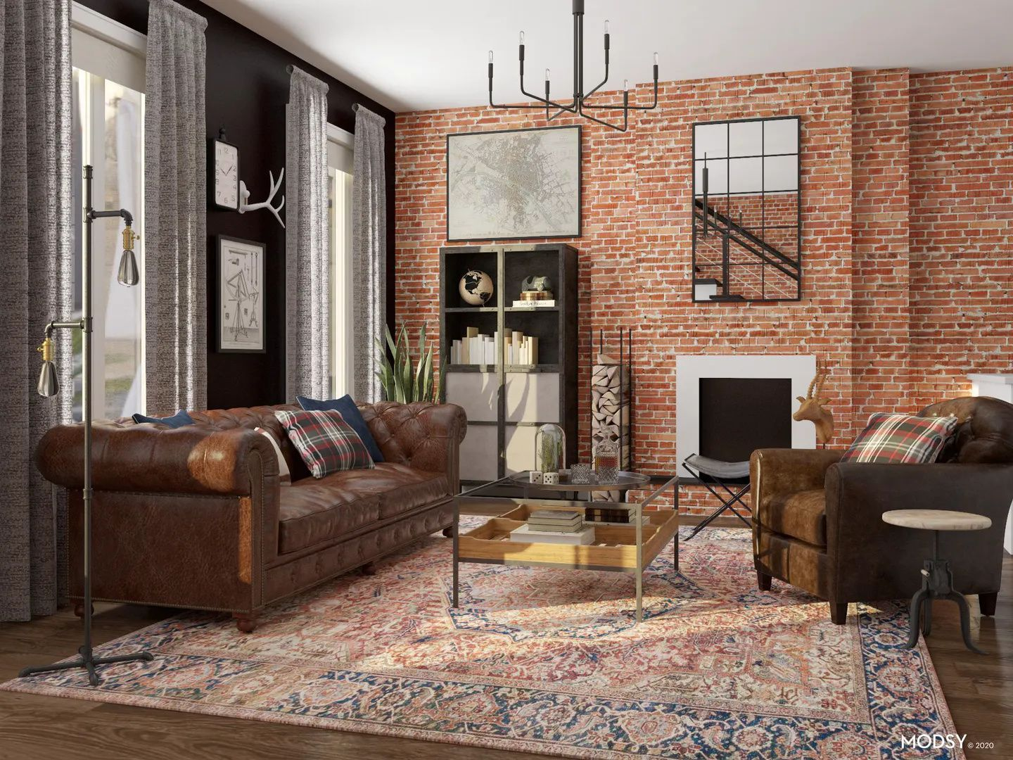 How To Design A Living Room With High Ceilings Modsy Blog In 2021 Industrial Style Living Room Industrial Living Room Design Americana Living Rooms