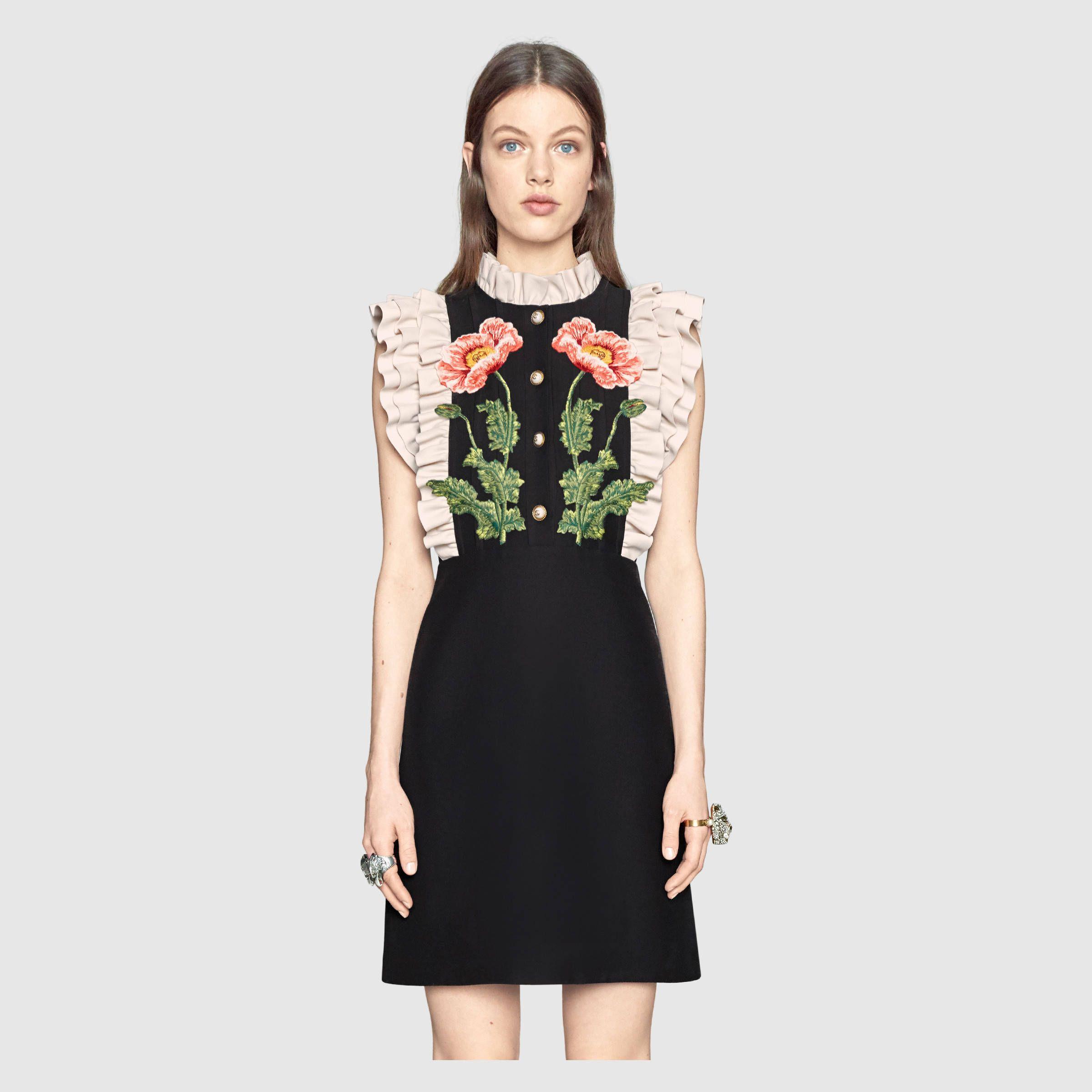 Fl Embroidered Wool Silk Dress