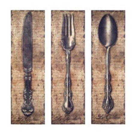 Amazon Com Vintage Kitchen Silverware Canvas Wall Art Spoon Knife Fork Kitchen Artwork Kitchen Wall Decor Wall Canvas