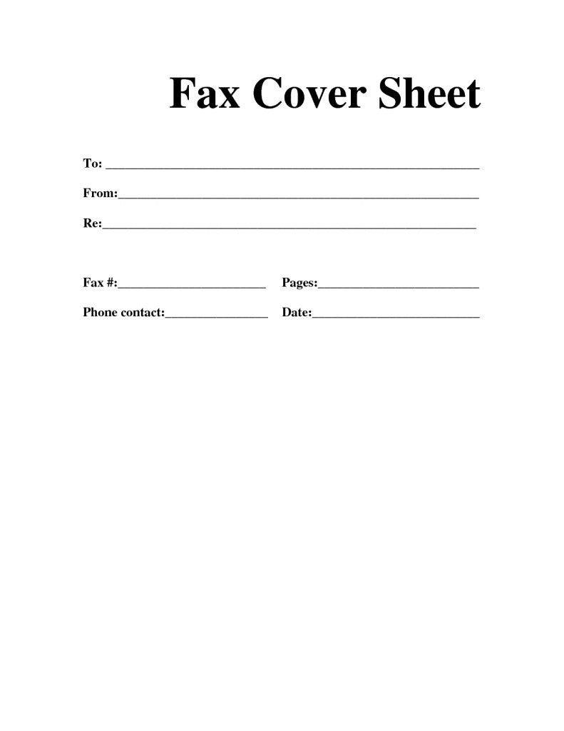 Cover Letter Fax Sheet