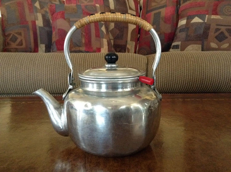 Made In Japan Vintage Aluminum Teapot W Infuser Strainer