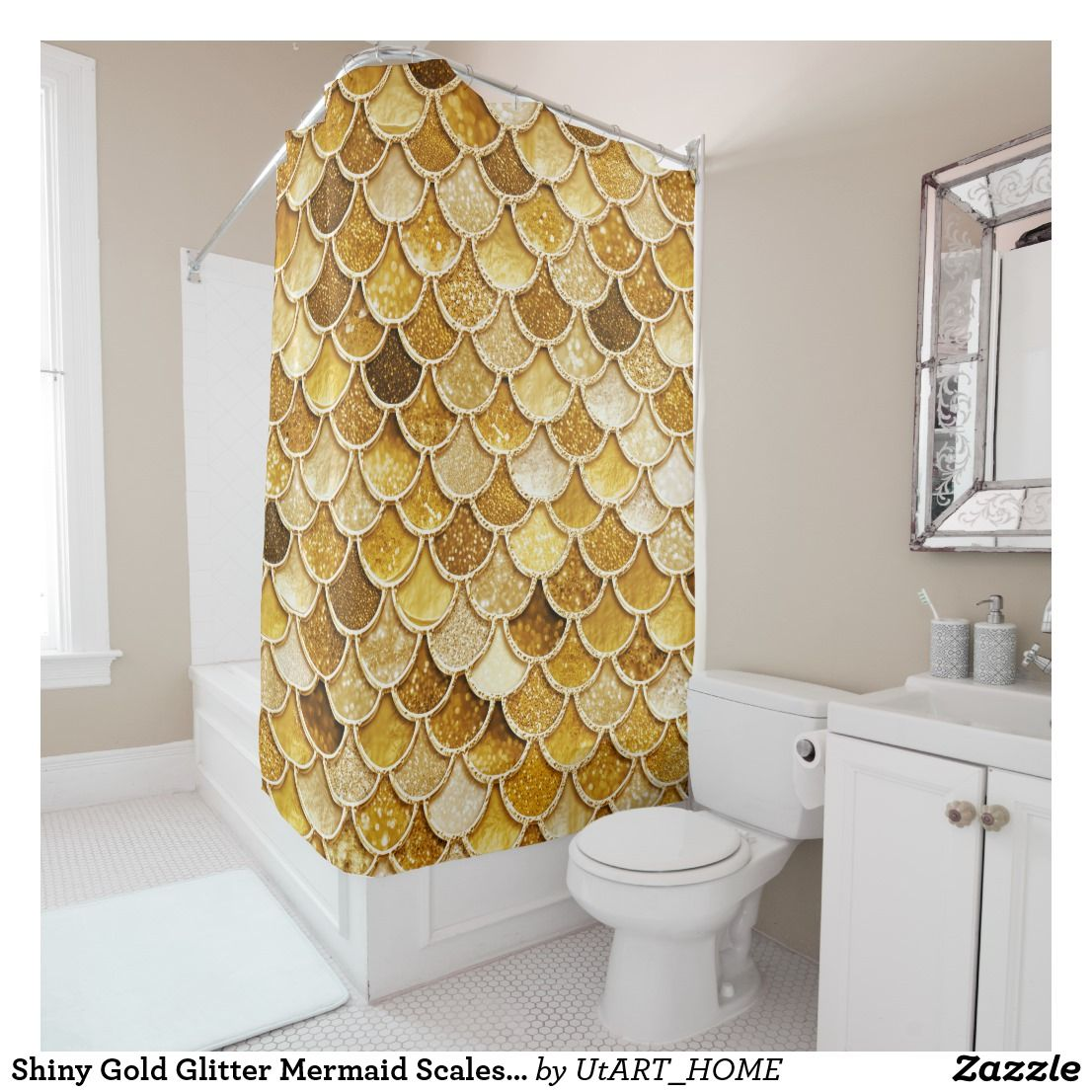 Shiny Gold Glitter Mermaid Scales Shower Curtain