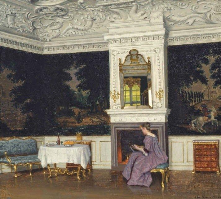 Adolf Heinrich Claus Hansen (1859-1925) Danish Painter. Interiors in painting ~   A mandolin player in an Interior
