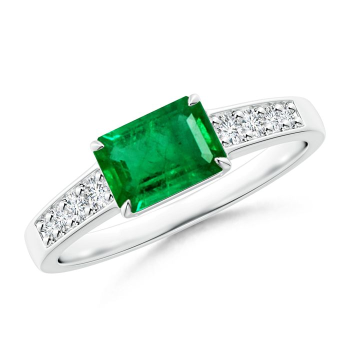 Angara East West Set Solitaire Oval Emerald Engagement Ring in White Gold VwZEm