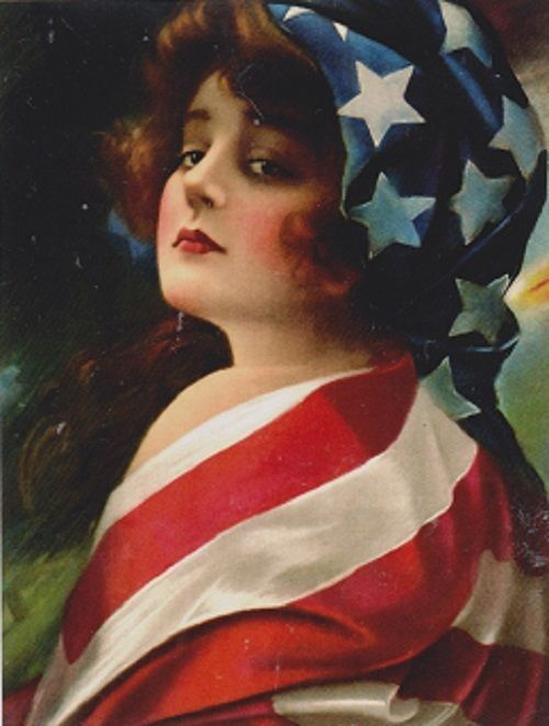 "*Postcard--""The 4th of July...Flag Lady""  ..*Classic"