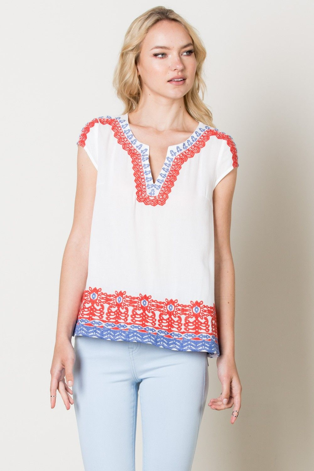 dab268d7ad2 TM 3728 Embroidered Top in White
