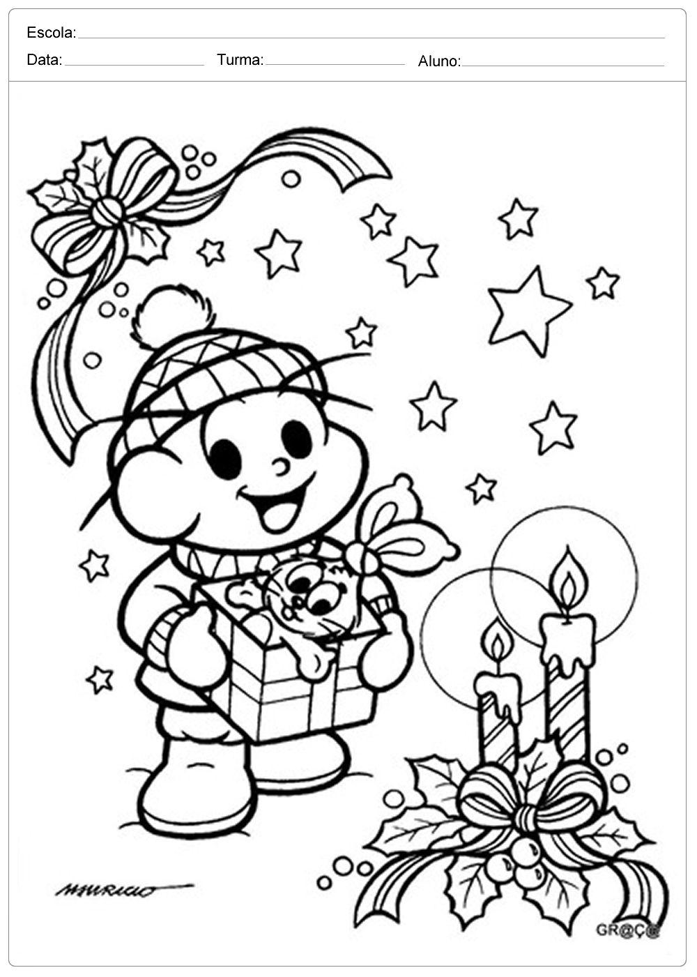 Desenhos De Natal Para Colorir Cebolinha Monica Para Colorir