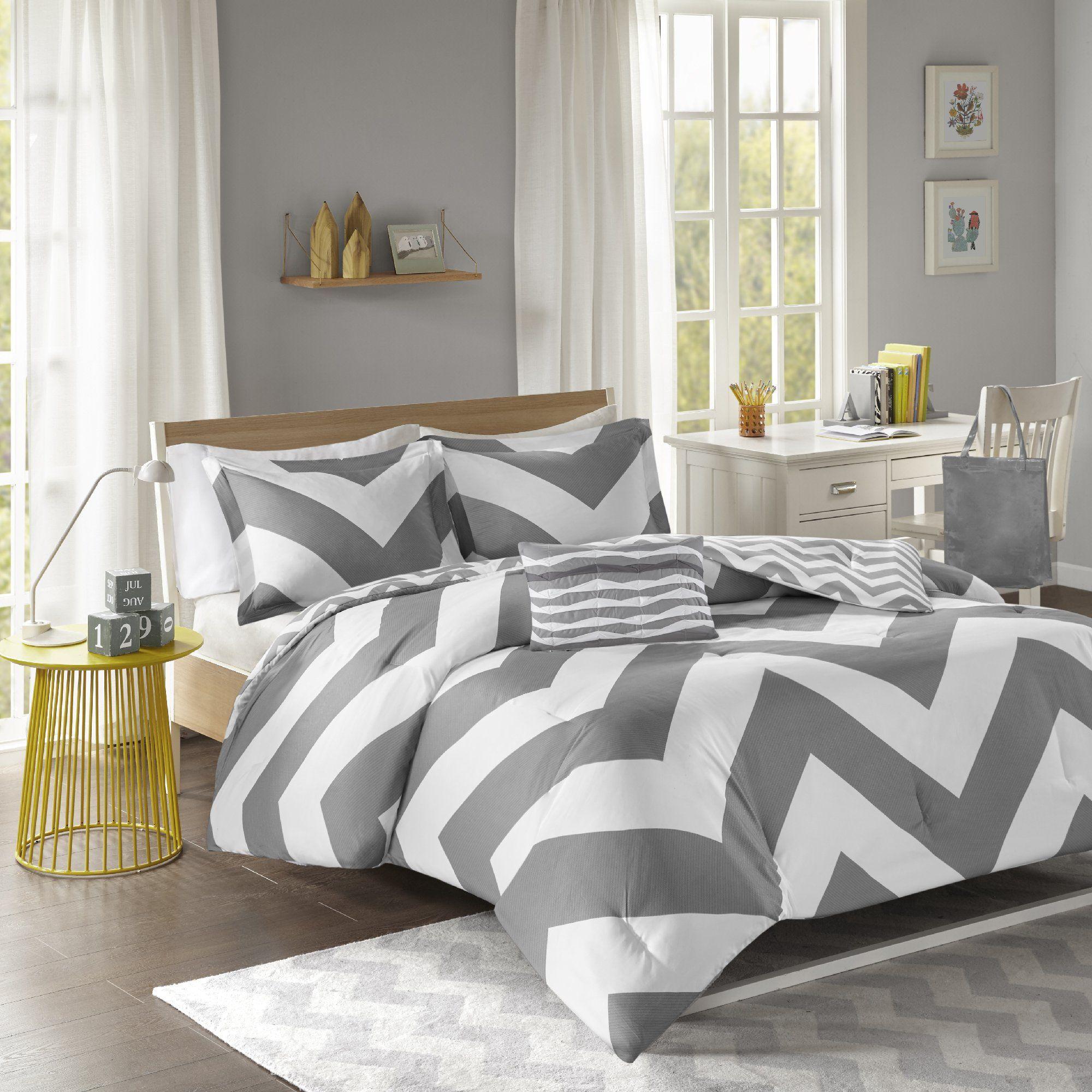 Mi Zone Mz10 335 Libra Comforter Set Full Queen Grey