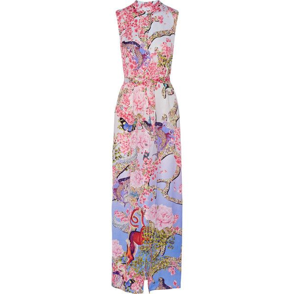 Mary Katrantzou Tinld printed silk-twill maxi dress (€2.570) ❤ liked on Polyvore featuring dresses, gowns, gown, mary katrantzou, maxi dress, long dress, pink, pink ball gown, long floral dresses and floral dress