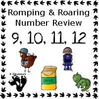 Romping & Roaring Number 9, 10, 11, 12 Review Pack Set 1: Romping & Roaring Number 9, 10, 11, 12  Review Pack Set 1 - with the following themes:  - 35 pages of activities to review the numbers 9: little red hen, 10: Superhero, 11: crayons, 12: Pets - 3Dinosaurs.com