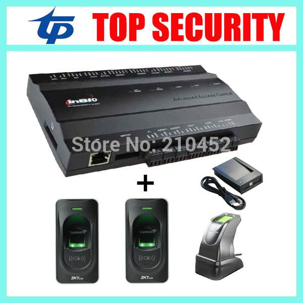 TCP/IP 1 door access control system with 2pcs fingerprint reader and 1pc fingerprint sensor and card reader
