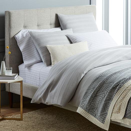 Dobby Ladder Stripe Duvet Cover Shams West Elm Grey Bedroom With Pop Of Color Luxury Bedding Home Decor Bedroom