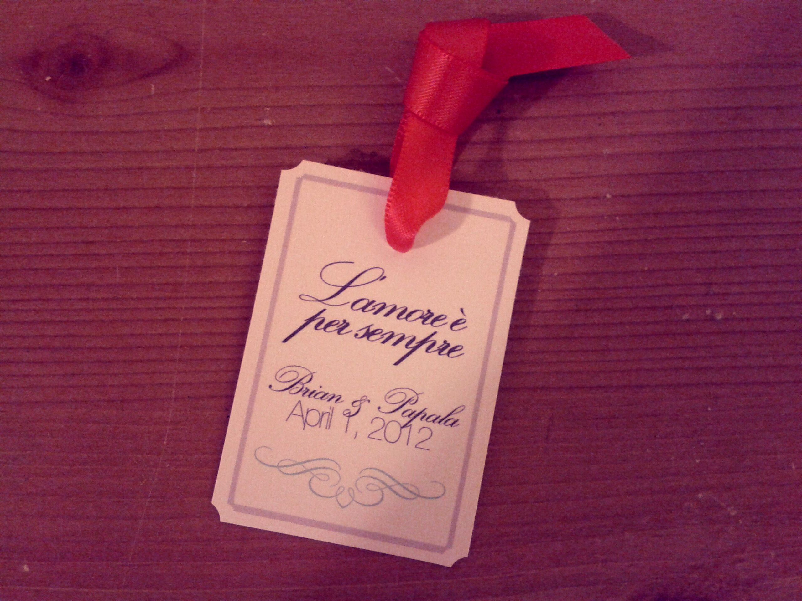 Wedding Favor Tags For Marias Saying In Italian Meaning Love Is Forever Will