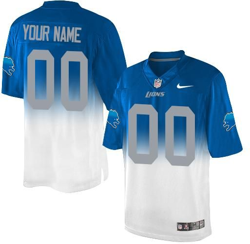 a94ab2090ba Nike Detroit Lions Customized Blue White Men s Stitched Elite Fadeaway  Fashion NFL Jersey