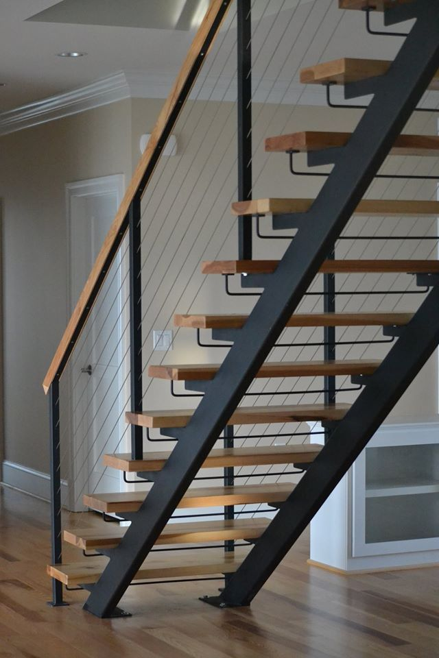 Double Stringer Steel Staircases With Wood Treads In Nyc Ct   Metal And Wood Stairs   Straight   Diy   Residential   Rustic   Stair Railing