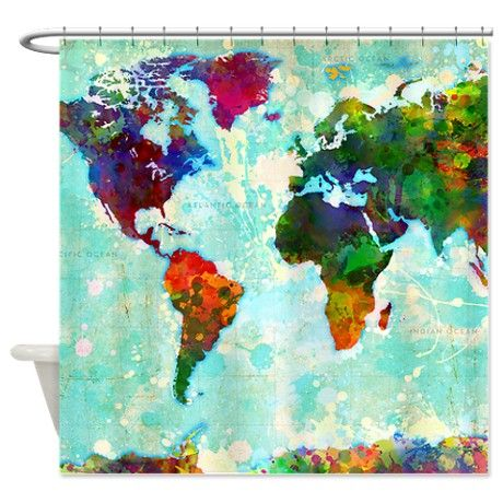 Modern world map shower curtain on cafepress home decor cool funny shower curtains cafepress gumiabroncs Images