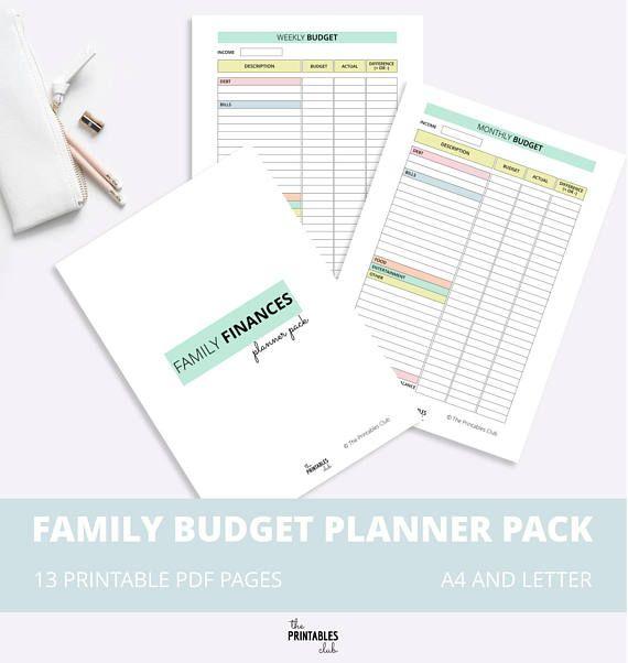 Family Budget Printable Pack, Budget Planner, Family Finance Planner - grocery list budget spreadsheet