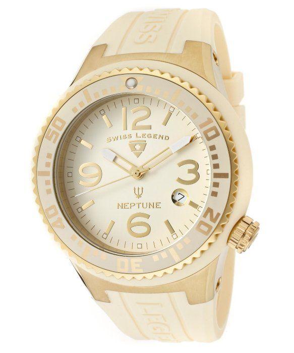 Swiss Legend Men's Neptune Beige Dial Gold Tone Case Beige Silicone SL-21848P-YG-16 Watch