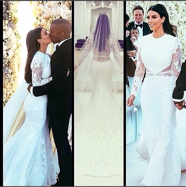 Kim Kardashian S Wedding Dress Not A Fan Of It I Like Dresses With Sleeves But For The Back Her Is Stunning