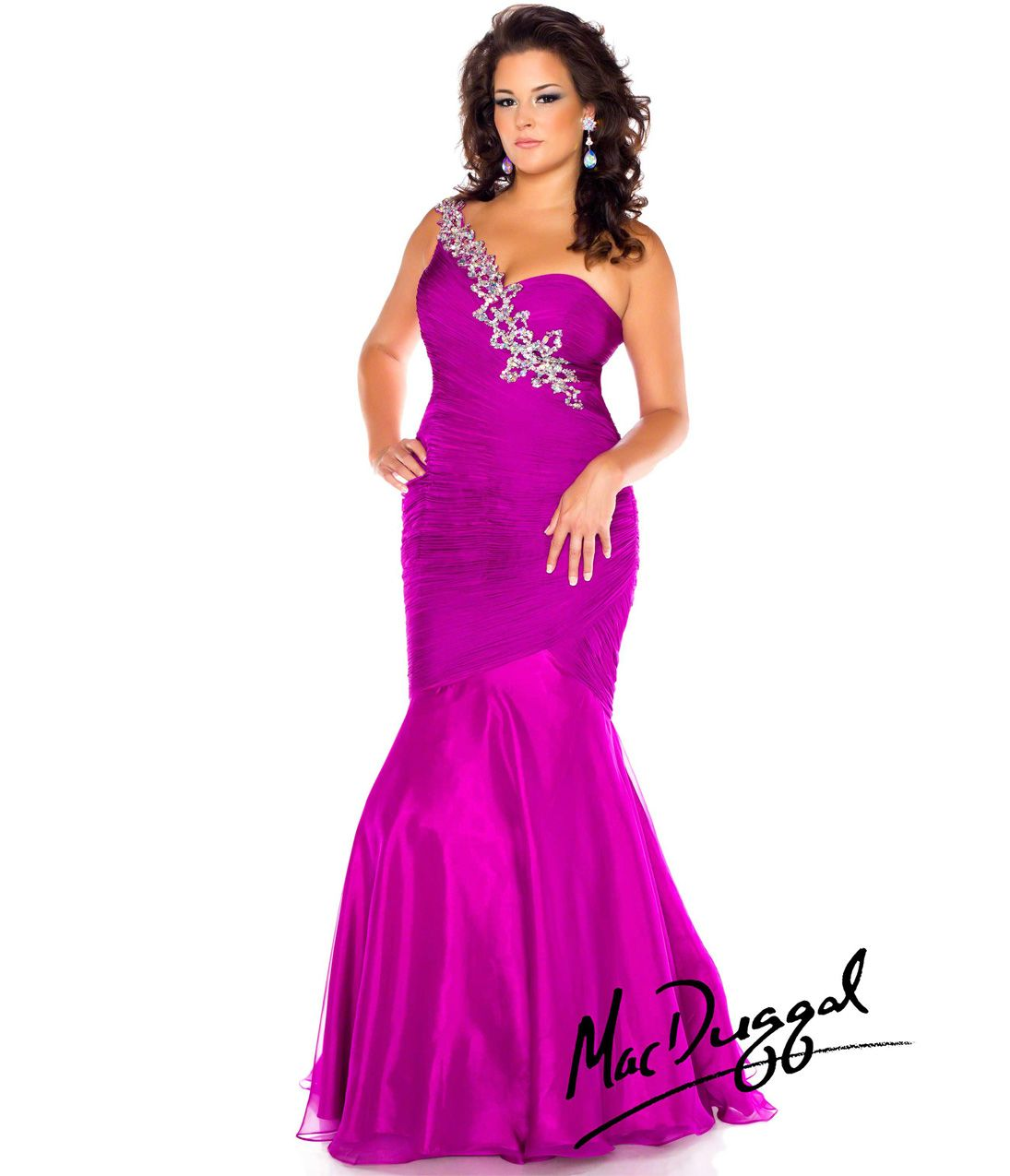 Mac Duggal 2014 Plus Size Prom Dresses - Magenta Crystal Chiffon ...