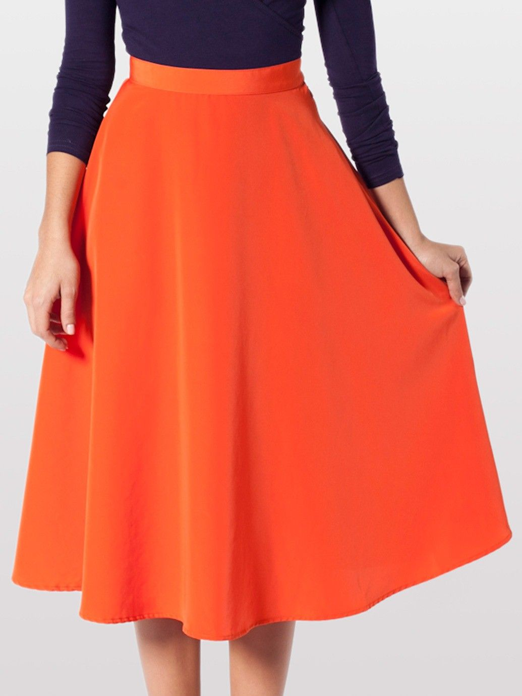 Mid Length Circle Skirt Knee Length Women S Skirts