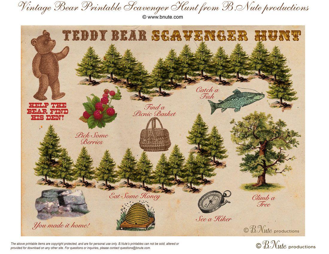 Free Printable Teddy Bear Scavenger Hunt Game