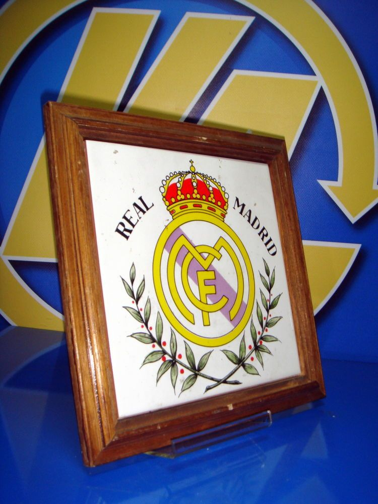Marco madera ceramica REAL MADRID futbol 25x25 cm. nuevo clasico ...
