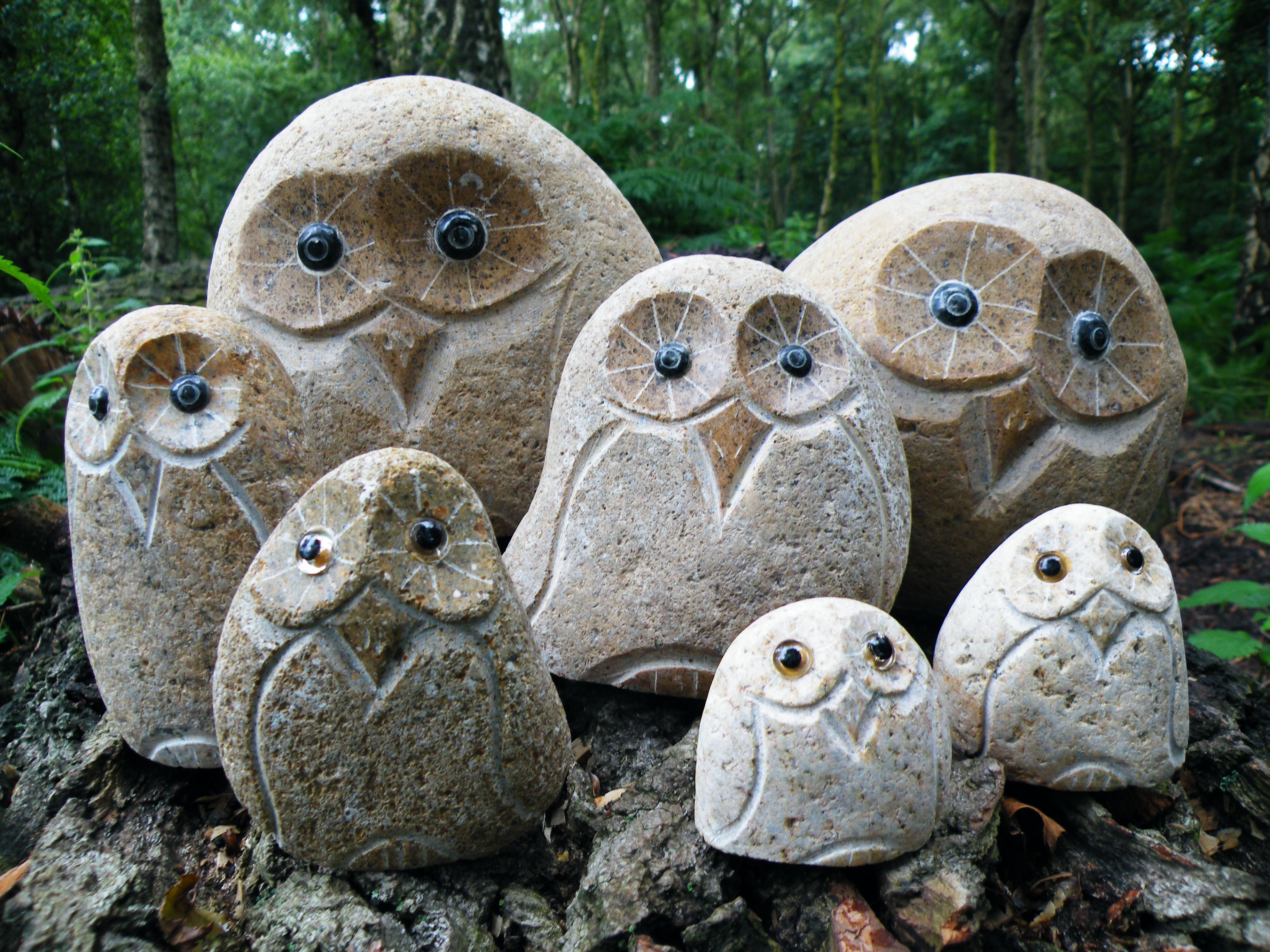 Carved Stone Owls Owls Owl Crafts Dremel Projects Crafts
