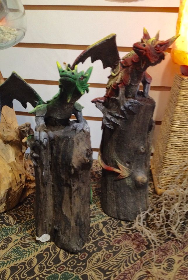 Here's looking at you! Wooden dragons available in several sizes at Tribal Mountain