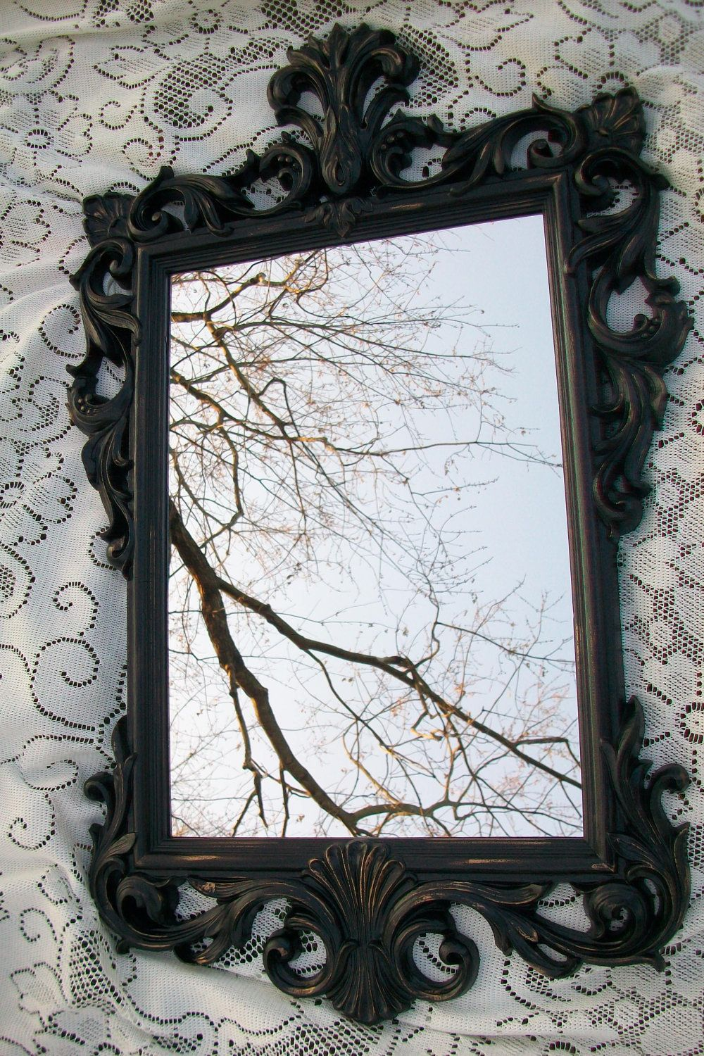 large vintage mirror black mirror ornate mirror gothic distressed black and gold wall mirror. Black Bedroom Furniture Sets. Home Design Ideas