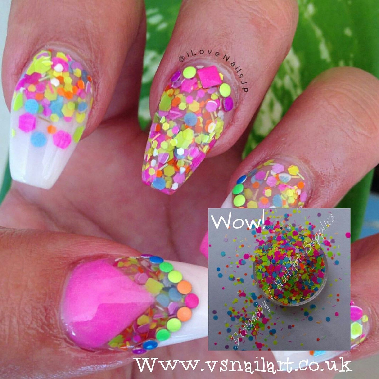 MATTE NEON Glitter Mix Holographic & Iridescent Uk seller nail art ...