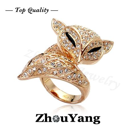 ZYR041 Lovely  Fox 18K Rose Gold Plated Ring Made with Genuine  Crystals From Austria Full Sizes Wholesale $10.54