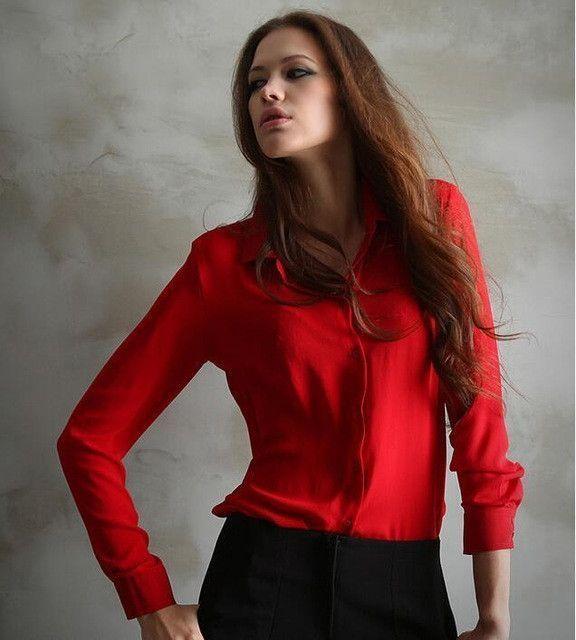 47e4394ed0429 Work Wear 2017 Women Shirt Chiffon Tops Elegant Ladies Formal Office Blouse  5 Colors Blusas Femininas