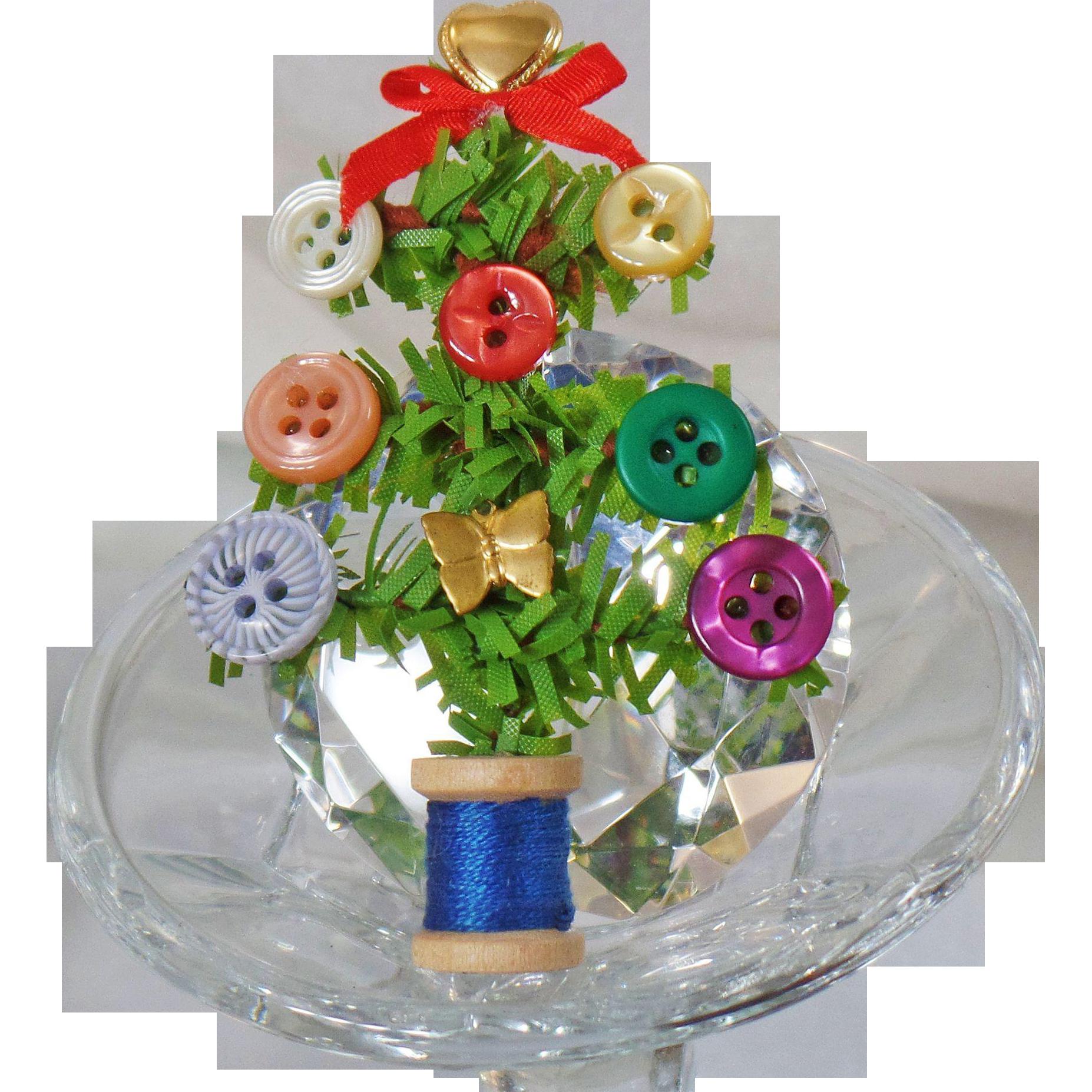 Thread Christmas Tree: Vintage Button Spool Of Thread Christmas Tree Brooch