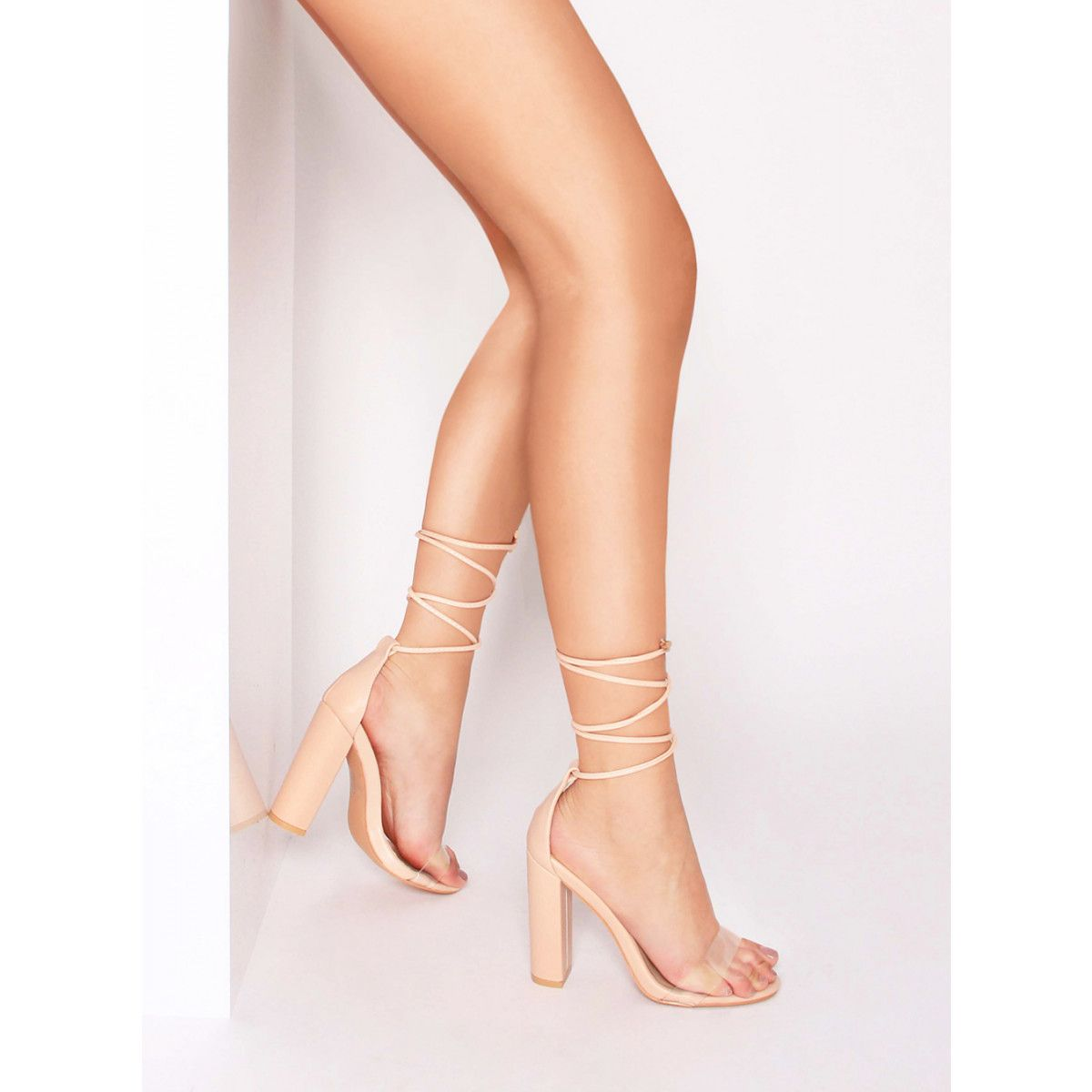 25d766a55fea Harley Nude Transparent Lace Up Block Heels   Simmi Shoes
