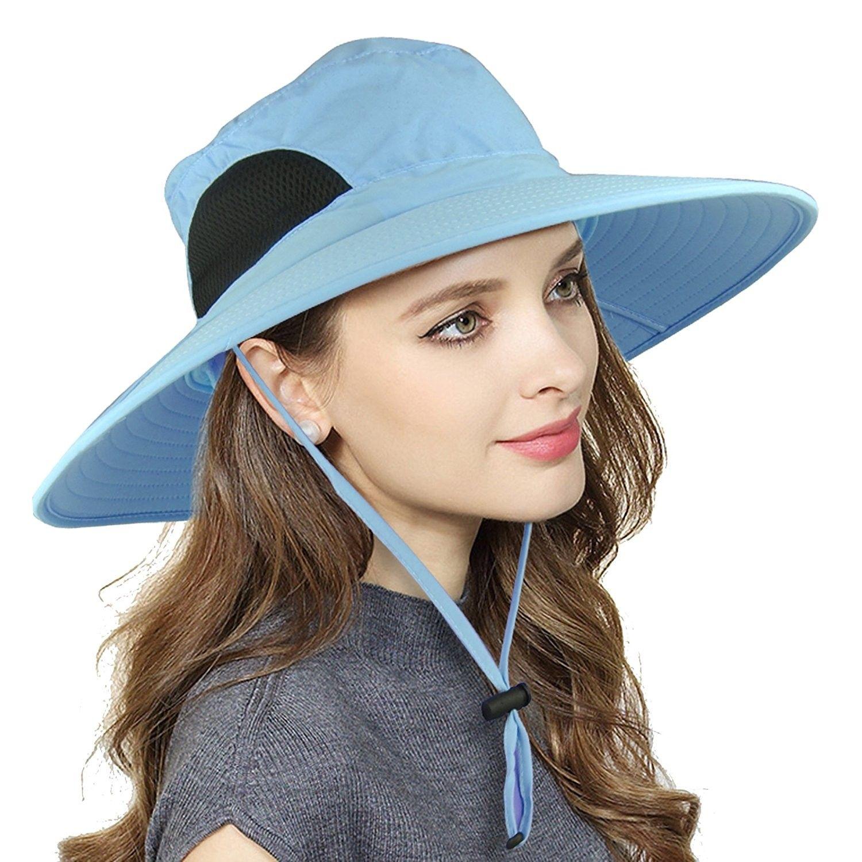 Womens Waterproof Sun Hat Uv Protection Wide Brim Bucket Mesh Boonie Hat Adjustable Fishing Cap Blue Cc189zu87nw Sun Hats For Women Sun Hats Hats For Women
