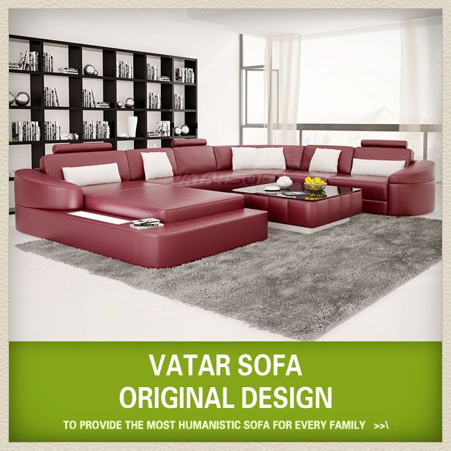 VATAR SOFA German Style Leather Sectional Sofa Type Living Room Furniture Set Regional European Special Feature With LED Light Material