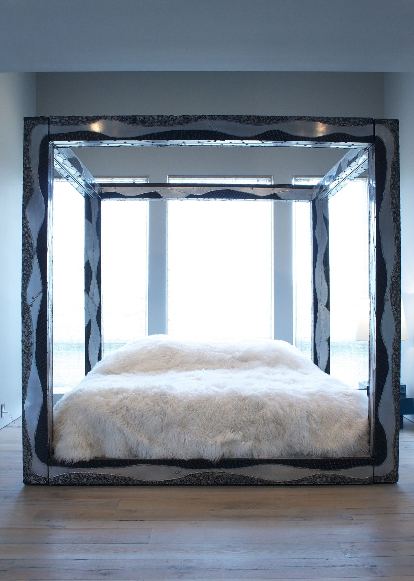 Paul Evans Custom King Sized Argente Canopy Bed Usa Todd Merrill