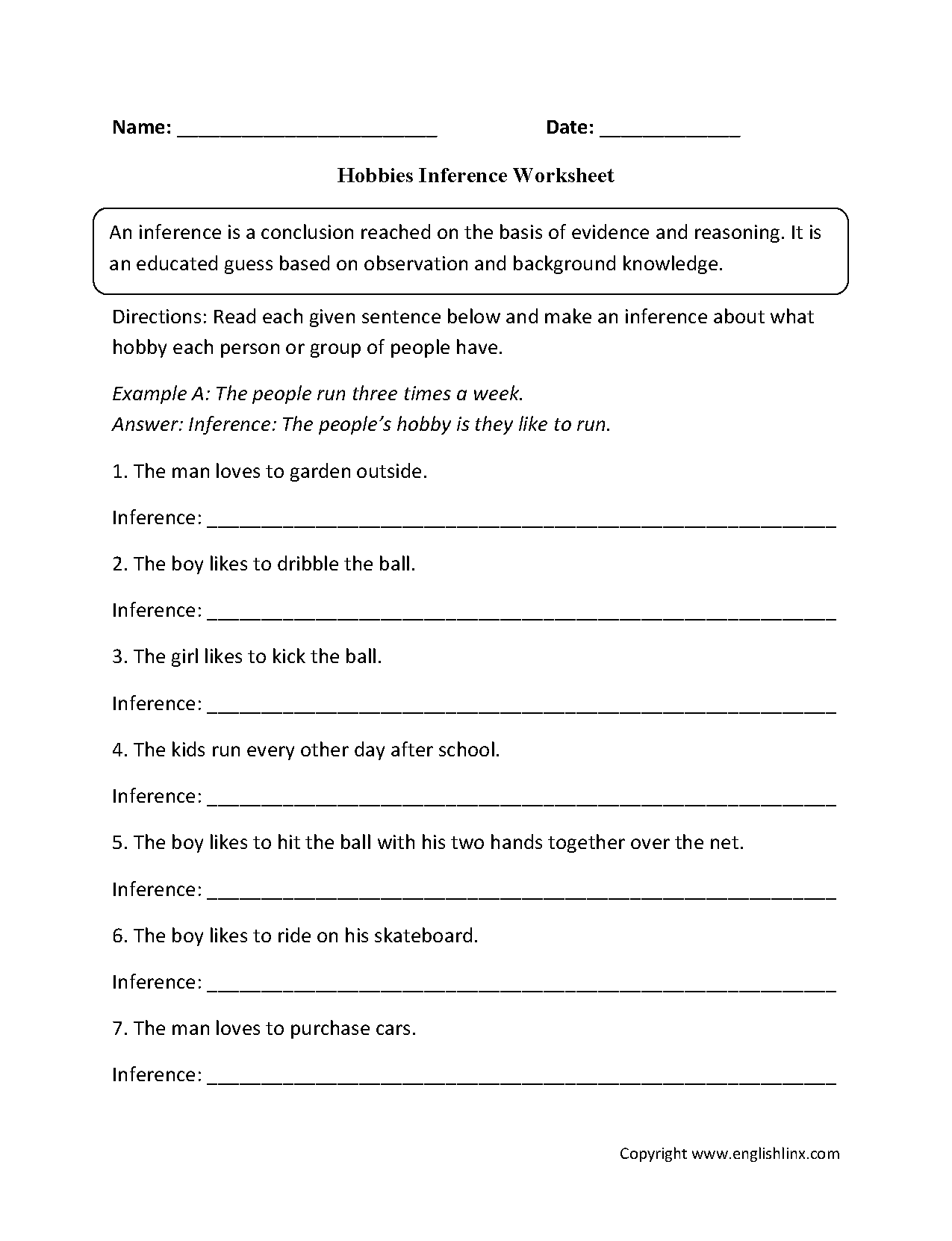 Hobbies Inference Worksheets