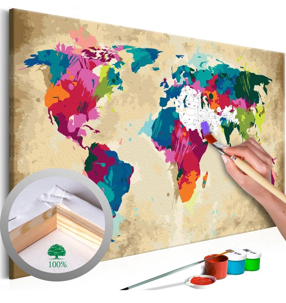 Wandbild Zum Malen Nach Zahlen Weltkarte Farbenfroh In 2020
