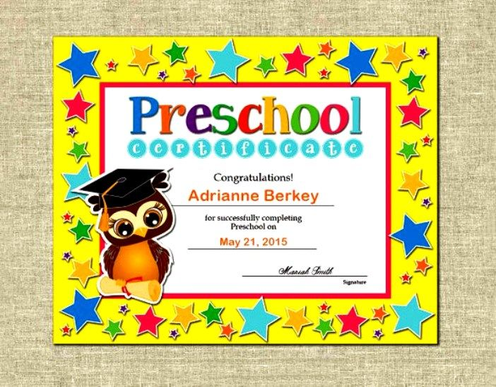 Sample Preschool Completion Certificate Download Oktats